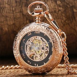 Image 1 - Antique Rose Gold Transparent Glass Roman Numerals Mechanical Hand Wind Pocket Watch Souvenir Pendant Clock Gifts Men Women