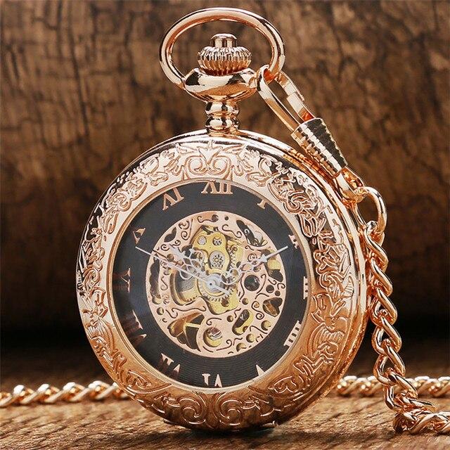 Antique Rose Gold Transparent Glass Roman Numerals Mechanical Hand Wind Pocket Watch Souvenir Pendant Clock Gifts Men Women
