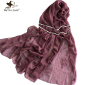 New Design Pure Color Flower Embroidery Scarf for Women Soft Breathable Shawl Spring Autumn Oversized Oblong Scarf and Wrap