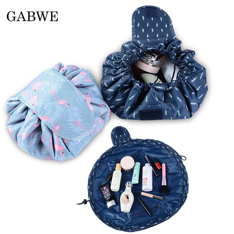 GABWE Women Travel Flamingo Makeup Drawstring Cosmetic Bag Organizer Make Up Bag Storage Pouch Toiletry Beauty Kit Box Wash Bag