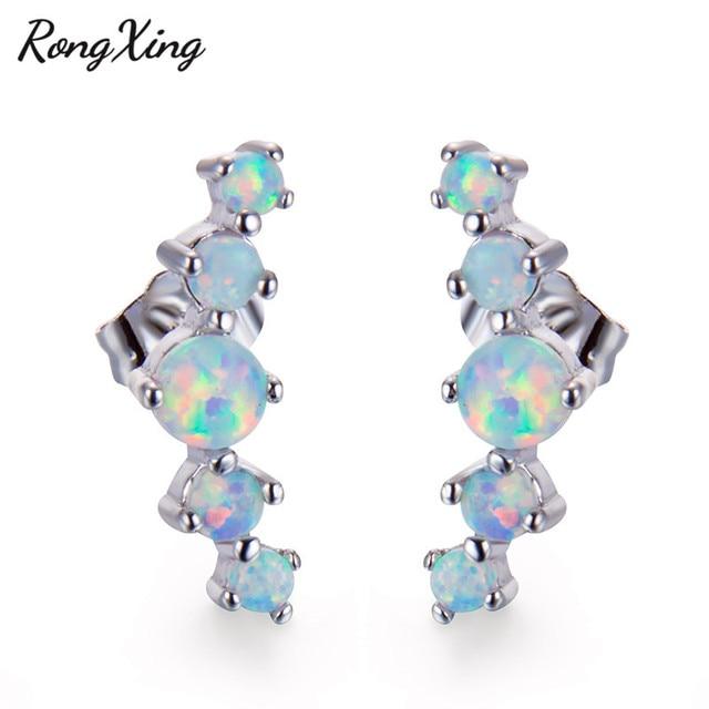 RongXing Single Row White Fire Opal Stud Earrings for Women 925 Sterling  Silver Filled Wedding Earrings 626723989b06