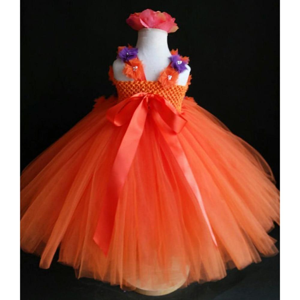 Orange And Purple Flower Girl Tutu Dress Orange Girl Dress Kids Baby