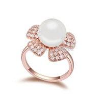 Btime Prawdziwe Rigant Oryginalna Kryształ z Pearl Flower Rings dla Kobiet Anti Alergii Sprzedaż Vintage Pierścionki