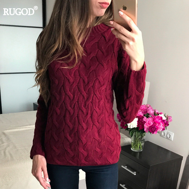 RUGOD 2017 Spring Knitted  Sweater Women Autumn Winter Long Sleeve O-neck Sweater Casual Knitwear Jumper pull femme good quality