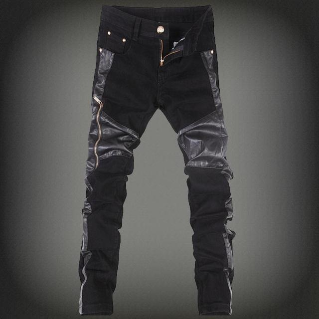 High Quality European Denim Jeans Skinny Casual Motorcycle Leather Patchwork Hip Hop Jean Straight Rock Style Clothing For Men