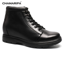 CHAMARIPA Increase Height 8cm/3.15 inch Men Elevator Shoes Boots Winter Dress Boots Black Leather Make You Taller