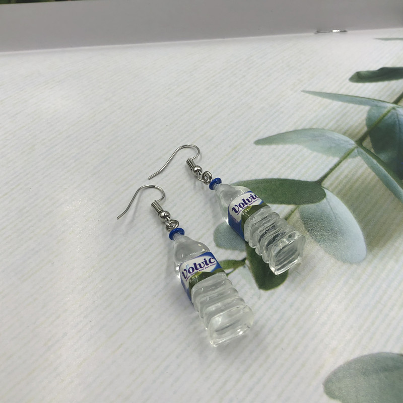 Fashion Creative Simulation of Mineral Water Bottles Earrings Cute Handmade Earrings Womens Jewelry