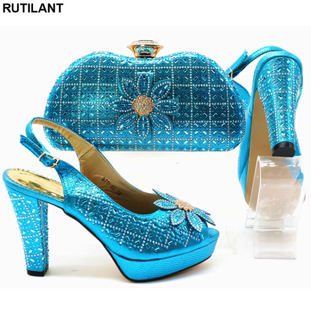 Latest Italian Shoes and Bags To Match Shoes with Bag Set Decorated with Rhinestone Nigerian Women Shoes High Heel Bridal Shoes