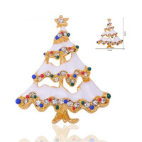 New golden alloy snow Christmas Tree Brooch Decoration Large Crystals Pin Brooches for men Christmas gifts