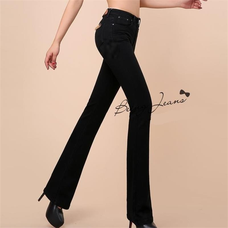 Free Shipping New High Quality Women Boot Cut Jeans Girls Fashion Bell bottom trousers High Waist Flares Pants Large Size 26 36-in Jeans from Women's Clothing    1