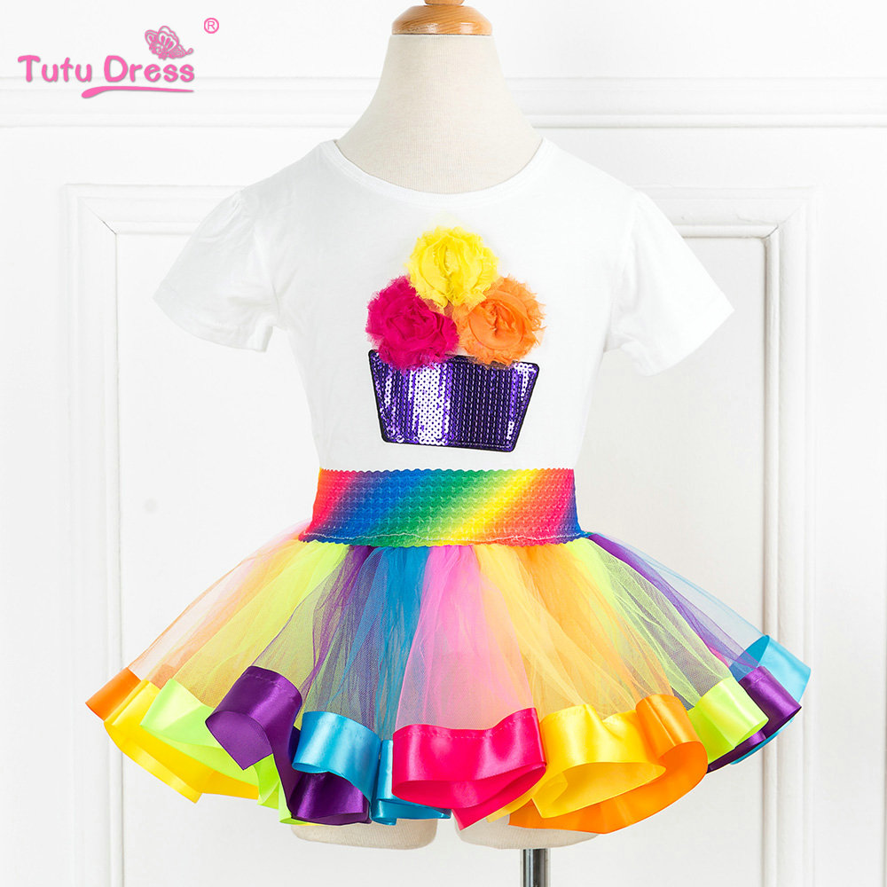 2 Pcs/sets Rainbow Birthday Party Tutu Sets Girls Rainbow Tutu Skirt With 100% Cotton T-shirt Sets Princess Dress For 2-13 Years 2 sets pack 0 28mm 100