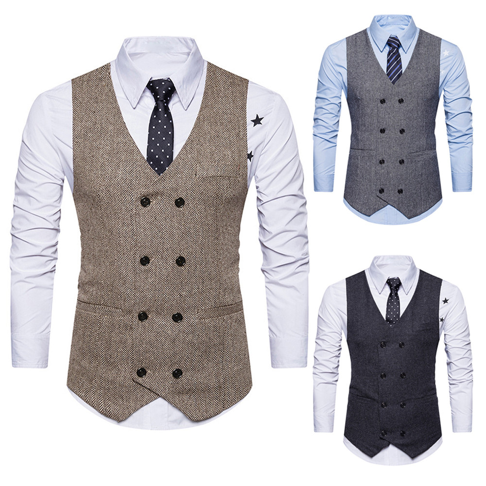 Men Formal Tweed Check Double Breasted Waistcoat Retro Slim Fit Suit Jacket 123 To Enjoy High Reputation At Home And Abroad
