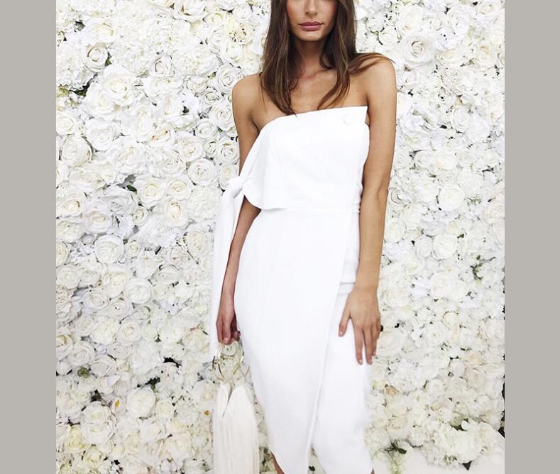 Arrivée Casual Gland Robe D'été Robes Une Nouvelle Liée Bouton Celebrity Piste Épaule Élégant Party 2018 Femmes wfXtB