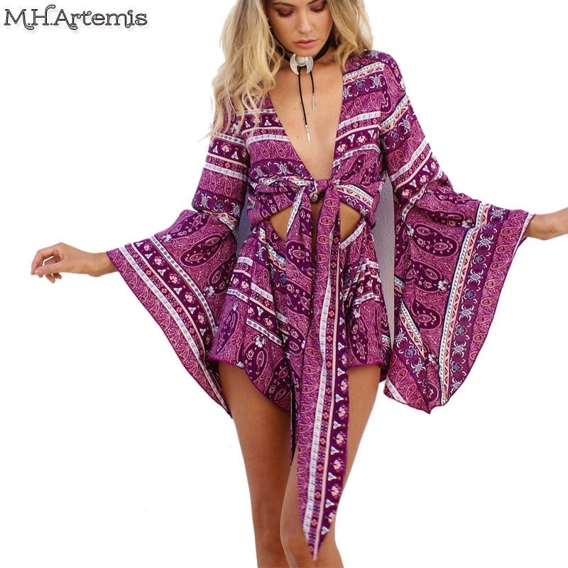 69e2025d408 M.H.Artemis Boho Chic Paisley Print Playsuit BowTie Design Jumpsuit  Beachwear Folk Floral Overalls Sling Romper Pajama Sexy Pluz
