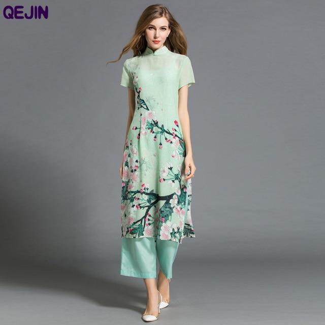 2016 Summer Women Dress Real Silk Printing Flower Casual Dresses Maxi 3 Piece Set Cheongsam Plus