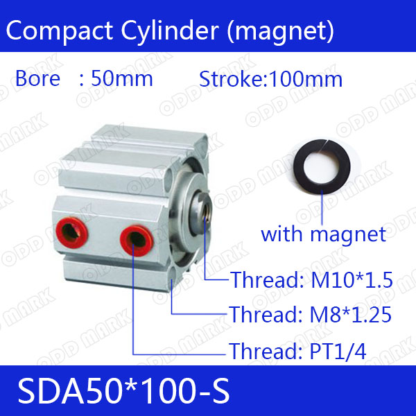 SDA50*100-S Free shipping 50mm Bore 100mm Stroke Compact Air Cylinders SDA50X100-S Dual Action Air Pneumatic Cylinder sda100 30 free shipping 100mm bore 30mm stroke compact air cylinders sda100x30 dual action air pneumatic cylinder