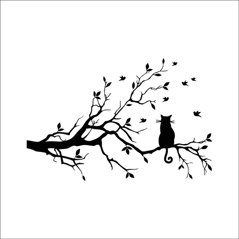 Qt 0211 Diy Wall Sticker Sitting In A Tree Lonely Cat Wallpapers Art
