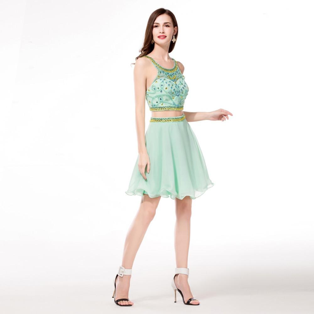 39375d029 Nuevo dos piezas de la turquesa vestidos de fiesta 2015 espalda abierta  corto mini vestido de coctel 2 unidades dulce 16 vestidos de graduación