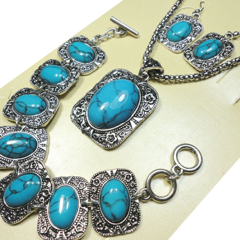 1 Set Top Antique Silver Blue Stone Bracelet Earrings Necklace 3 in 1 Jewelry Lots Wholesale Jewelry Set Free Shipping LR287