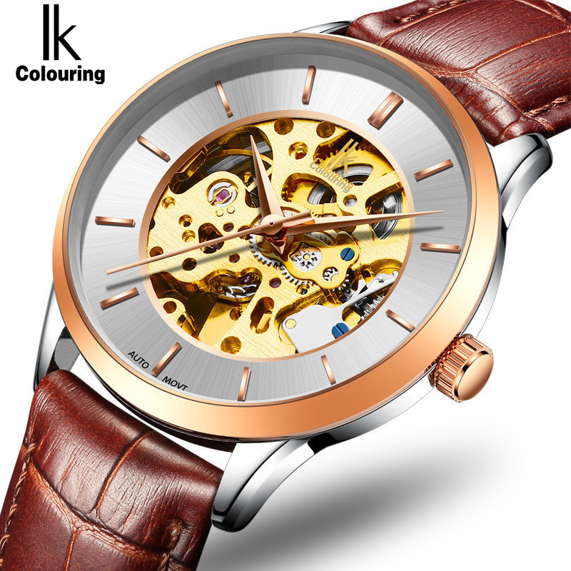 IK Casual Genuine Leather Men's Hollow Automatic Watch Full Steel Tourbillon Top Brand Watch Men Fashion dress relogio masculino
