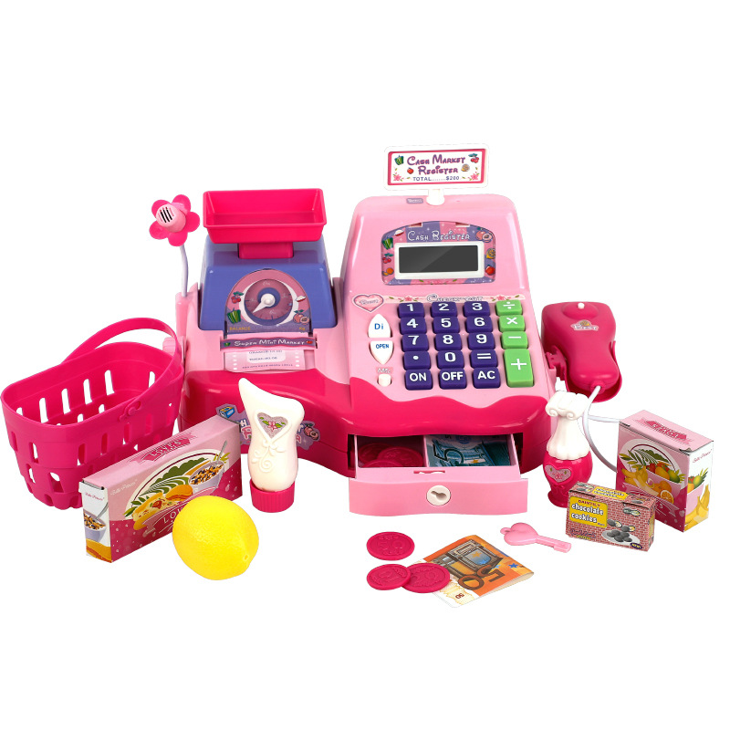 Kid cash register in supermarket simulated scanning weighing machine electric set children plastic pretend play groceries toys