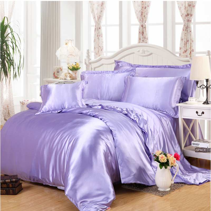 silver gray imitate silk satin bedding set 4pcs solid color duvet cover set bedclothes bed sheet set pillowcases bedding sets from home