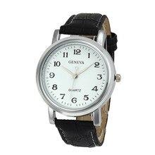 Водонепроницаемый Простой Мода Повседневная Женева Мужчины Женщины Мужская Час Кожа Пряжки Большой Циферблат Аналогового Кварцевые Наручные Часы Relojes