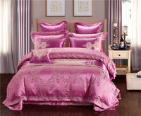 New Satin Jacquard Gold Pink Blue Luxury Bedding set/bedclothes/bedspread Queen King size Flat Bed sheet Duvet cover sets