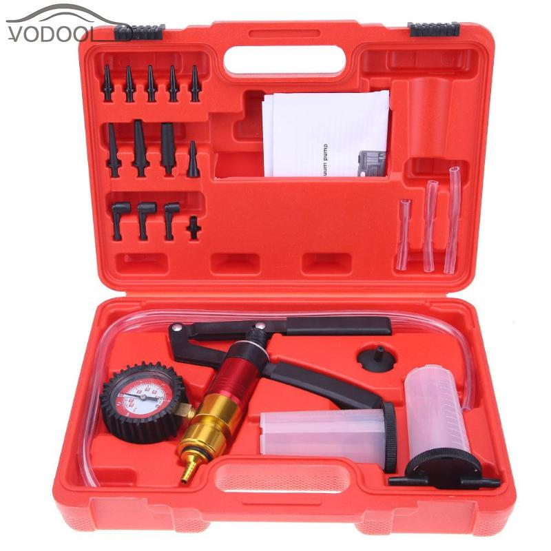21Pcs/set Car Auto Handheld Vacuum Pistol Pump Brake Bleeder Adaptor Fluid Reservoir Oil Tester Tools Kit Auto Diagnostic tool