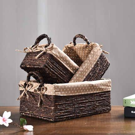 Rattan cesta de armazenamento cesta de armazenamento caixa de armazenamento caixa de acabamento de mesa Americano cesta de lanche cesta de artigos diversos de tecido de palha novo