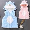 2016 Meninas Do Bebê Inverno Colete Outerwear Velo Coral Infantil Ziper Casacos Topwear Crianças Hoodies Caráter Da Criança Com Capuz Colete