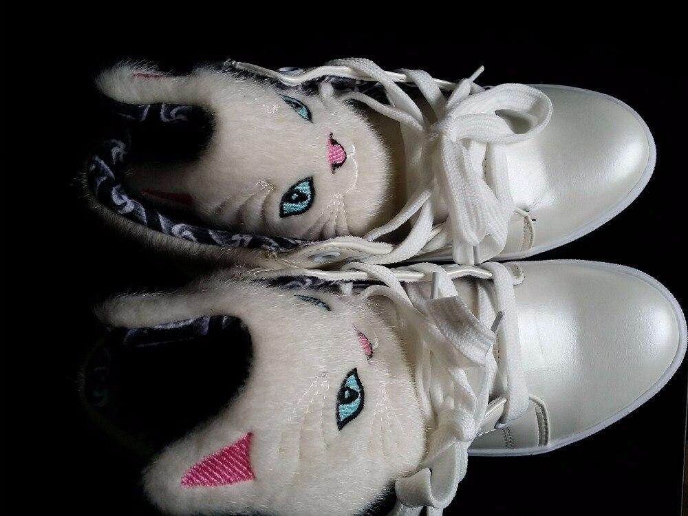 Zapatos Mujer Lindo Mxc68 Negro Casuales Gato Dibujos Encaje Cómodo Animados blanco Estudiante De 2017 tHwx6pdtq