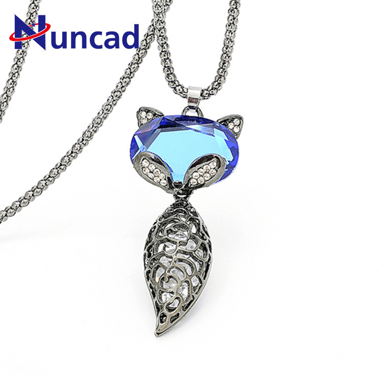 2018 Special Fox Shaped Crystal Long Pendant Necklace Women Sweater Necklaces Wholesale Fashion Jewelry