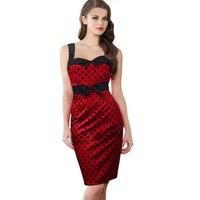Women Retro 50 S Rockabilly Dress Polka Dots Classic Pencil Dress Stretch Strapless Dress Plus Size
