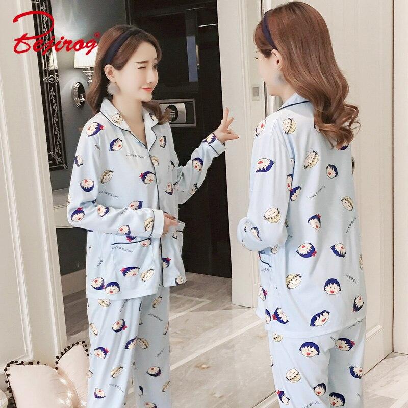 Detail Feedback Questions about Bejirog women pajamas set causal long  sleeved nightwear button cartoon plus size nighty milk silk sleepwear  stitch+pant ... 095f66e4e