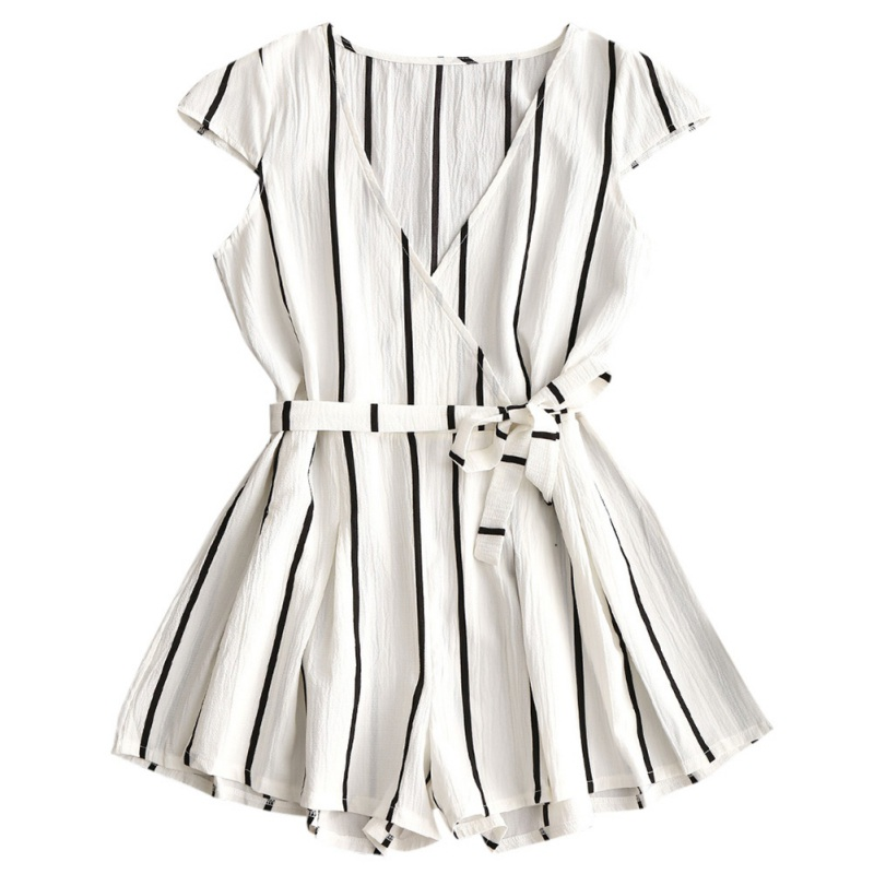 2018 New Summer Sashes Playsuit Office Lady Striped Print Playsuits Sexy V-neck Short Sleeve Women   Jumpsuit   Female Rompers