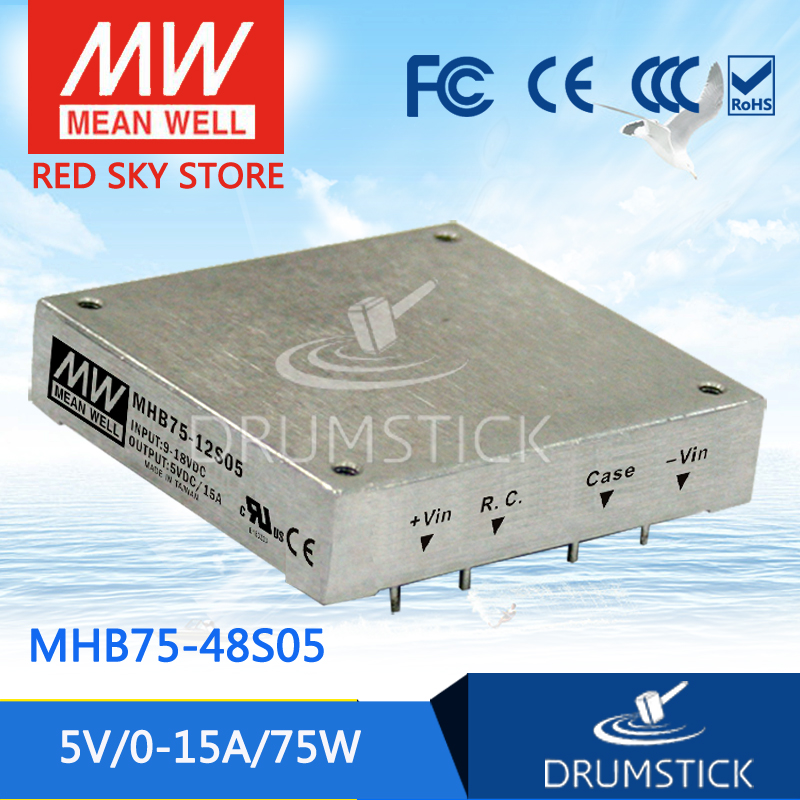 Genuine MEAN WELL MHB75-48S05 5V 15A meanwell MHB75 5V 75W DC-DC Half-Brick Regulated Single Output Converter