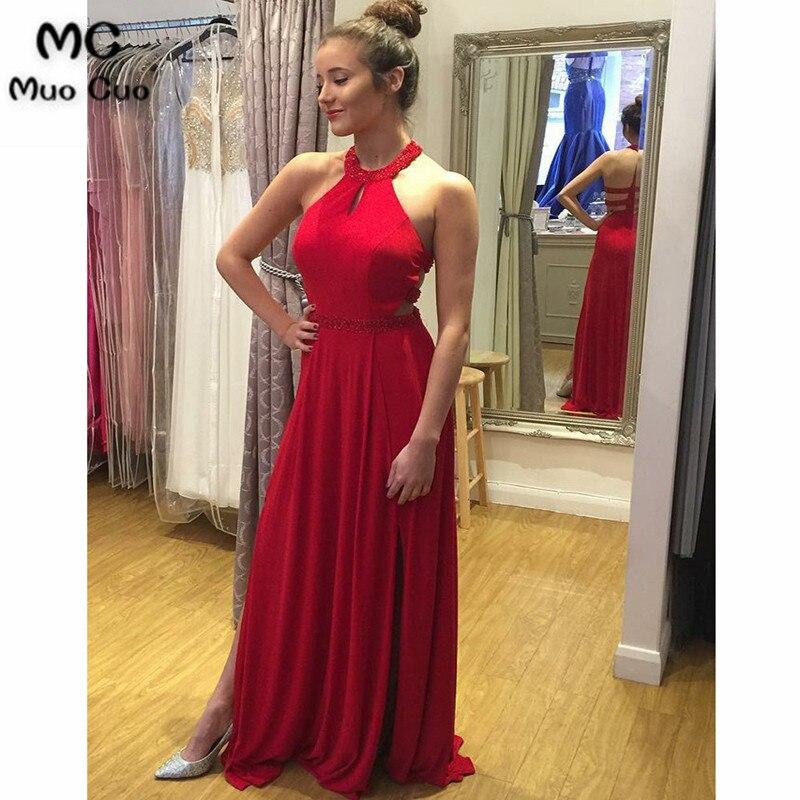 2018 A-Line Red Long   Evening     Dress   with Beading Chiffon Front Split Vestido de festa longo Long   evening     dress   for women