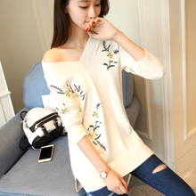 Фотография Embroidery V Neck Floral Sweater Women Long Sleeve Womens Plus Size Sweaters Knitwear Sueter Mujer Winter Woman Clothes 90H0002