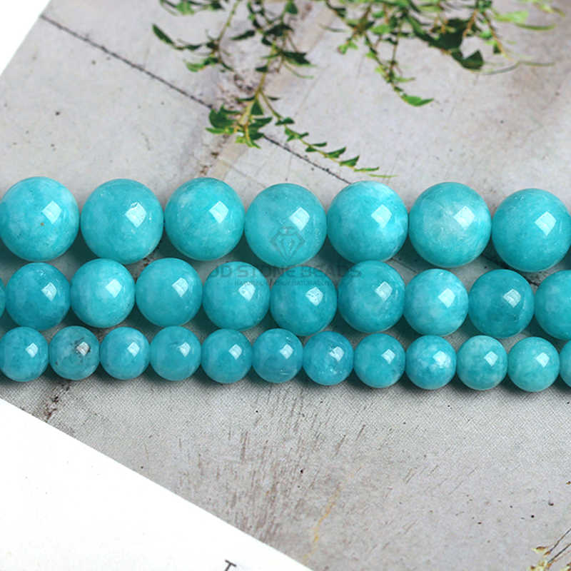 Amazonita cuentas azul Calcedonia cuentas sueltas 4 6 8 10 12mm tamaño pico piedra preciosa de la moda para la fabricación de joyas gran oferta envío gratis