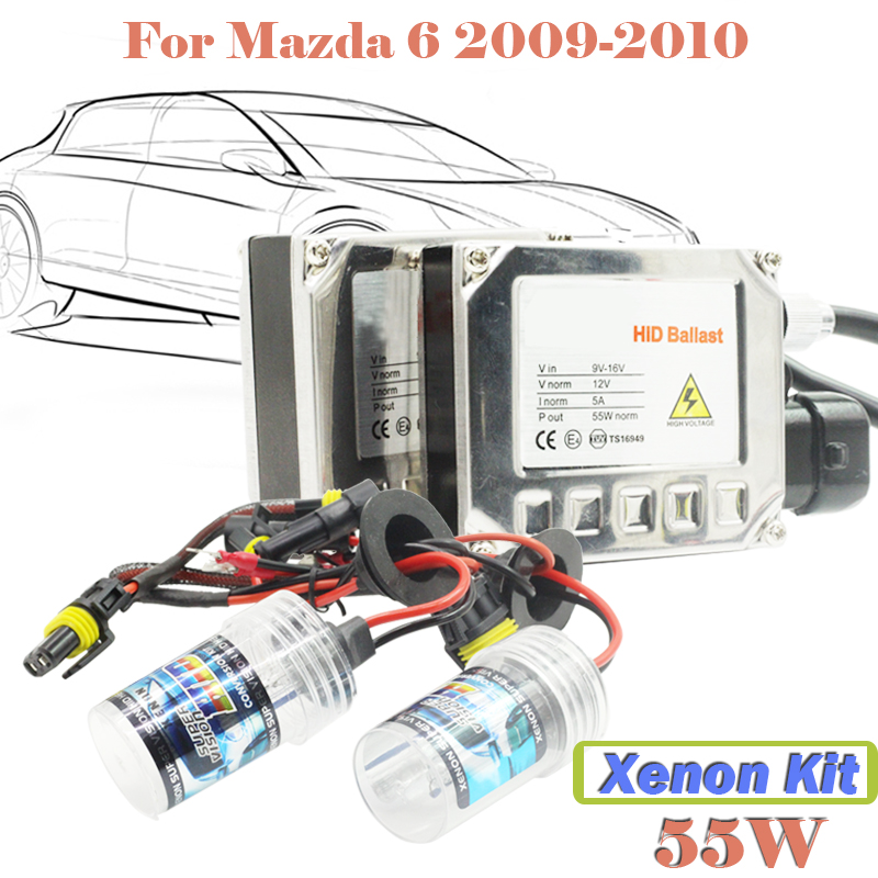 55W Xenon HID Kit Bulb Ballast 3000K-15000K For Mazda 6 2009-2010 Car Head Lamp Headlight (1 Pair Ballast + 1 Pair Bulb)  55w xenon hid kit aluminum shell ballast bulb 3000k 15000k car conversion headlight head light for is250 2006 2013