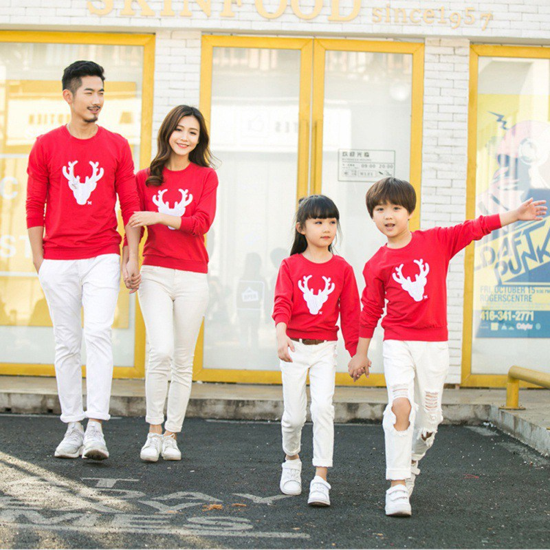 Family Matching Outfits Christmas Winter Sweater Cute Deer Children Clothing Kid Add Wool Warm Family Clothe YL13