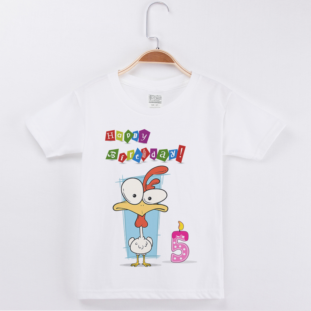 Boys T shirt Happy Birthday Cute Cartoon Chicken Printed Cotton Half Sleeve Children Clothing Kid T Shirts Girls Tops Boy Tshirt in T Shirts from Mother Kids
