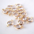 50pcs/lot 8*8mm Fashion Shine 2 hole transparent Crystal Beads Connectors Charms For Bracelet Necklaces Jewelry Handmade Crafts