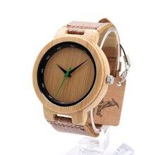 BOBO D17 PÁJARO Retro De Madera De Bambú Con Mental Reloj Banda de Cuero Relojes de Marca de Diseñador Luxulry marcas de relojes