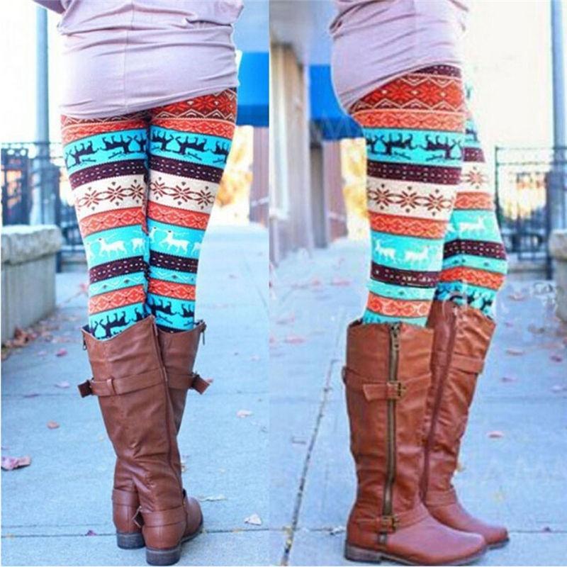 1pc Women Ankle Length Tribal Printed Casual Skinny Slim   Legging   Stretchy Knit Christmas Gift Snowflake Leggins