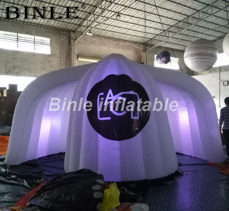 5m large igloo LED inflatable photo booth enclosure with D rings haning things portable dome tent DJ studio for wedding party