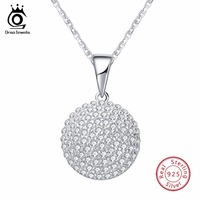 ORSA JEWELS Top Quality Trendy Round 925 Sterling Silver Jewelry Pendant AAA CZ Necklace With 45CM