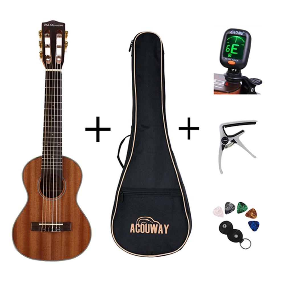 Acouway 28 pouce Guitare Guitalele Guitarlele ukulélé Sapele corps 6 Cordes 18 Frettes Classique Bouton Faisceau avec sac, tuner, capo