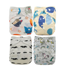 Ohbabyka Baby Diapers Digital Print Pocket Cloth Diapers Baby Care Unisex Reusable Nappies One Size Fit All Diapers 14Colors [mumsbest] 4pcs baby pocket diapers with microfiber inserts reusable nappies waterproof boy